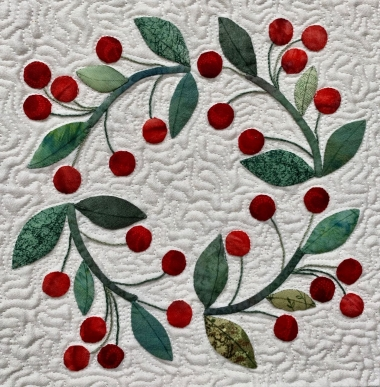 Cherry Wreath, Americana Baltimore, by Wendy Grande; Quilting by Shireen Hattan