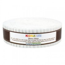 White Kona Cotton Skinny Strips